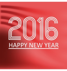 Happy new year 2016 on red wave color background vector