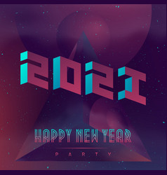 Happy new year 2021 futuristic design poster with vector