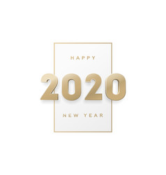 happy new year banner with gold 3d numbers 2020 vector image