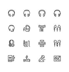 headphones and audio equipment icon set in vector image