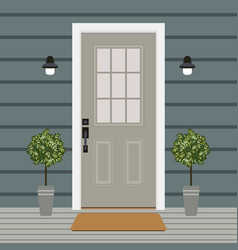 house door front with window and plants flat vector image