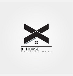 house icon template with x letter home creative vector image