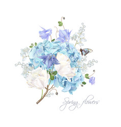 Hydrangea spring composition vector