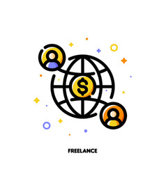 icon two abstract people and globe for freelance vector image