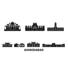 India ahmedabad flat travel skyline set vector