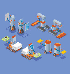 Isometric robots presentation vector