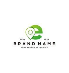 Letter e map pin logo design vector