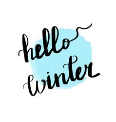 lettering inscription hello winter blue vector image