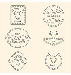 Line art restaurant logo set vector