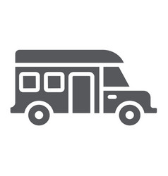 Motorhome glyph icon transportation and auto vector