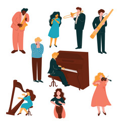 musicians characters set people playing vector image