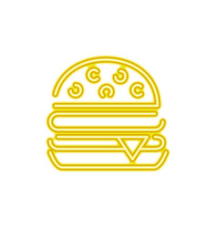 Neon hamburger fast food snack vector