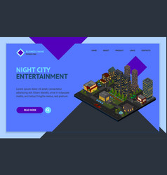 night city district concept landing web page vector image