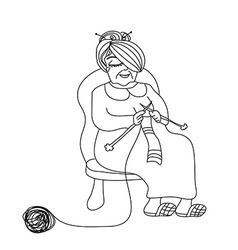 Old woman knitting vector
