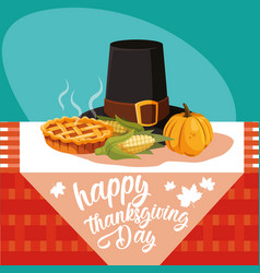Pilgrim hat of thanksgiving day with set icons in vector