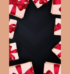 Pink gift box on dark background vector