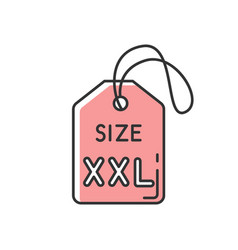 Pink xxl size label rgb color icon garments vector