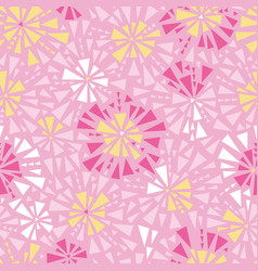 Pink yellow triangles bursts seamless vector