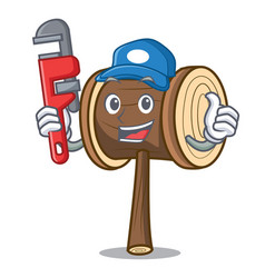 Plumber mallet mascot cartoon style vector