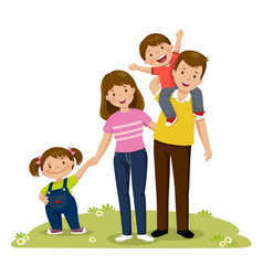 Portrait of four member happy family posing vector