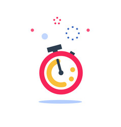 Red stopwatch ringing last minute chance vector