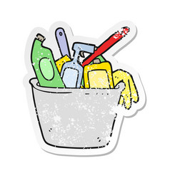Retro distressed sticker of a cleaning products vector