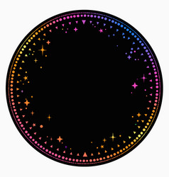 Round frame with an ornament multicolored stars vector