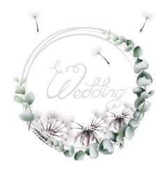 round wreath dandelion watercolor summer floral vector image