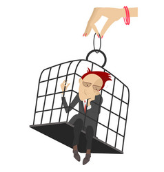 Sad man in the cage vector
