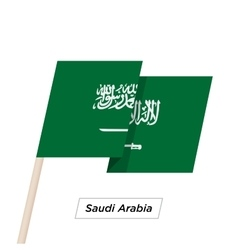 Saudi Arabia Ribbon Waving Flag Isolated on White vector image