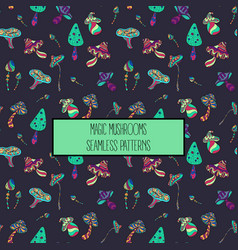 Seamless pattern of stylized magic mushrooms vector