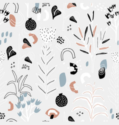 seamless pattern with flowers leaves and abstract vector image