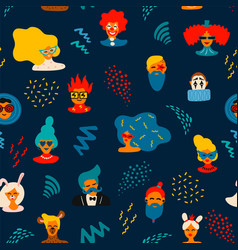 seamless pattern with funny male and female vector image