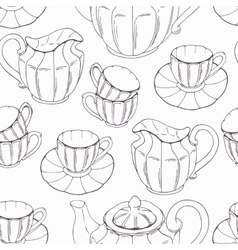 Seamless pattern with outline style tea service vector