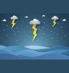 Seascape rain in sea with lightning paper art vector
