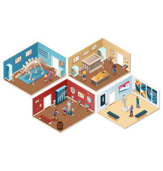 Set isometric museum gallery exhibition vector