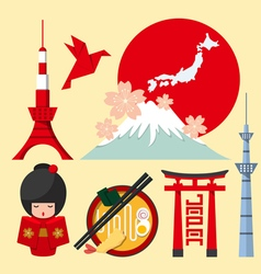 set japan icon in flat design vector image