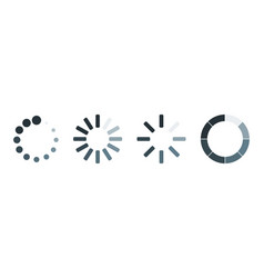 Set of four loading icons in line on blank vector
