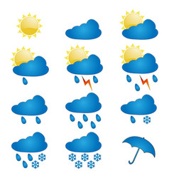 set of icons on a theme weather vector image