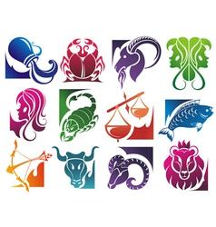 Set of zodiac symbols isolated on white background vector image