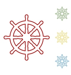 Ship wheel Set of line icons vector image