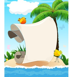 Small island with palm tree and birds vector