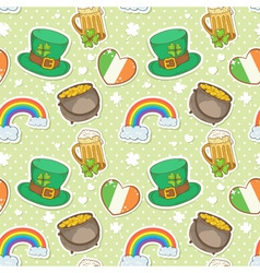 St Patricks Day stickers elements seamless pattern vector image