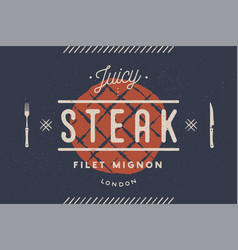 steak logo meat label logo with steak vector image