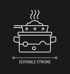 Steam for cooking white linear icon for dark theme vector