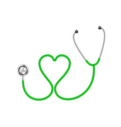 Stethoscope in shape heart in green design vector
