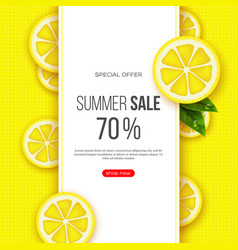 Summer sale banner with sliced lemon pieces vector