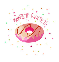 sweet cartoon chocolate and strawberry donut vector image