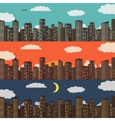 Three Urban Landscape Banners Summer City vector image