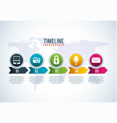 timeline infographic world vector image